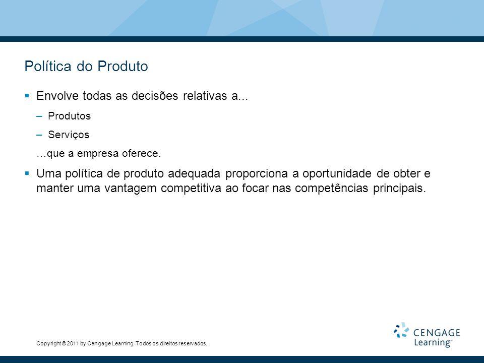 Política do Produto Envolve todas as decisões relativas a...