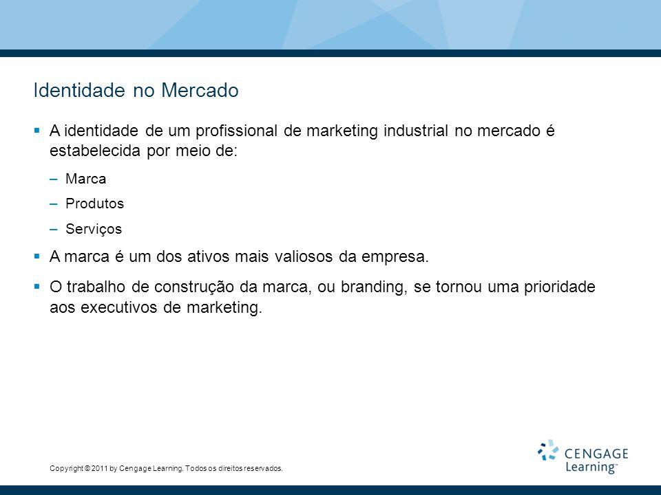 Identidade no Mercado A identidade de um profissional de marketing industrial no mercado é estabelecida por meio de: