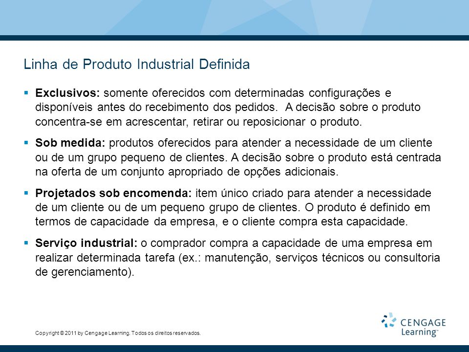 Linha de Produto Industrial Definida