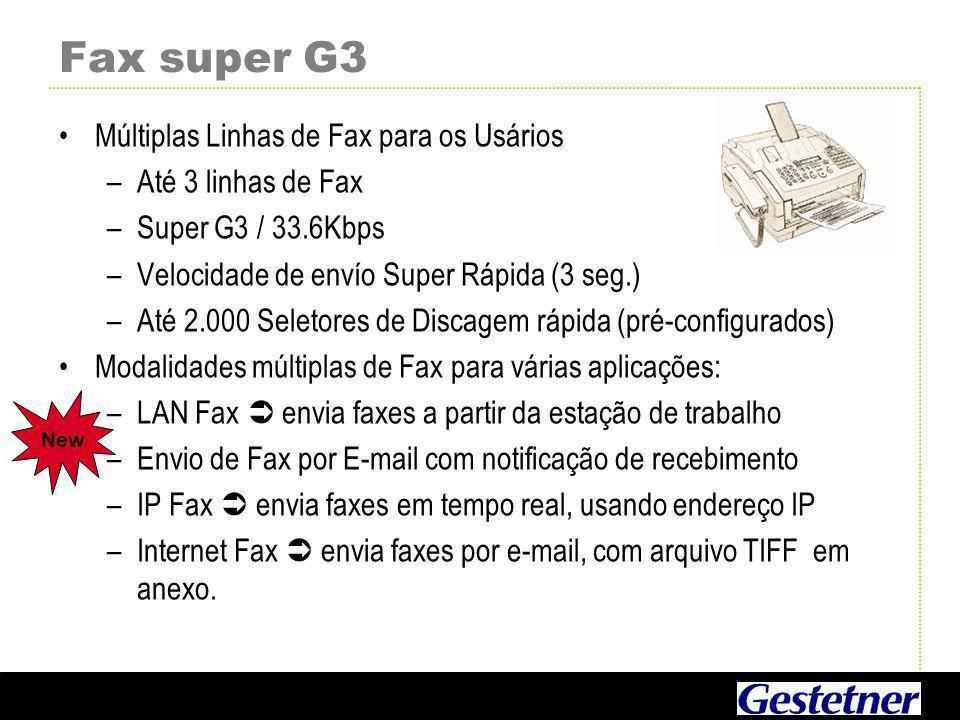 Fax super G3 Múltiplas Linhas de Fax para os Usários