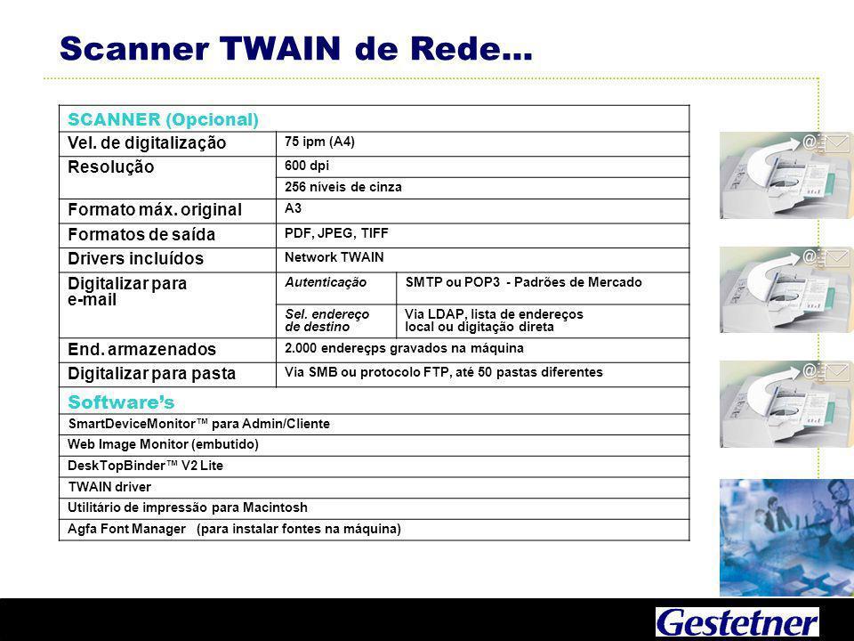 Scanner TWAIN de Rede... Software's SCANNER (Opcional)