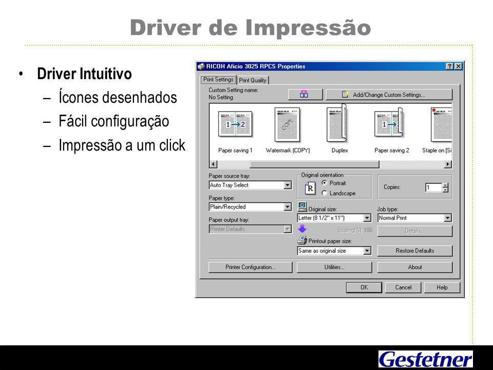 Driver de Impressão Driver Intuitivo Ícones desenhados