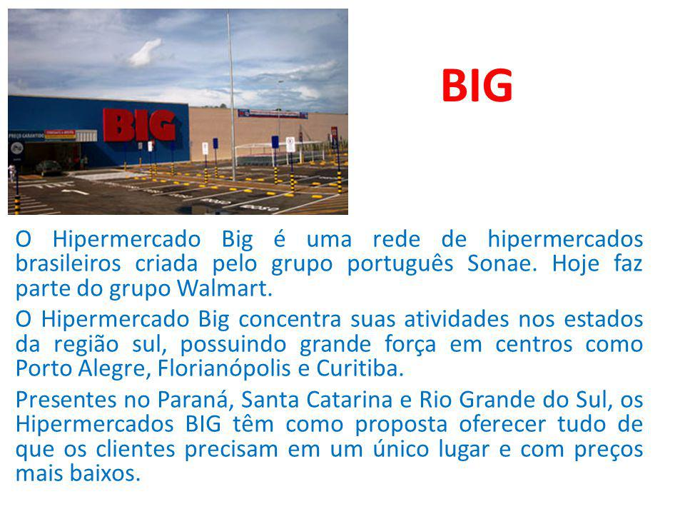 BIG O Hipermercado Big é uma rede de hipermercados brasileiros criada pelo grupo português Sonae. Hoje faz parte do grupo Walmart.