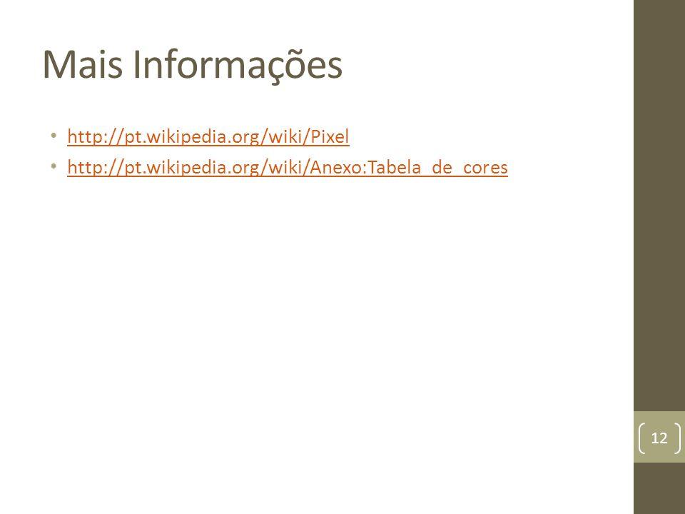 Mais Informações http://pt.wikipedia.org/wiki/Pixel