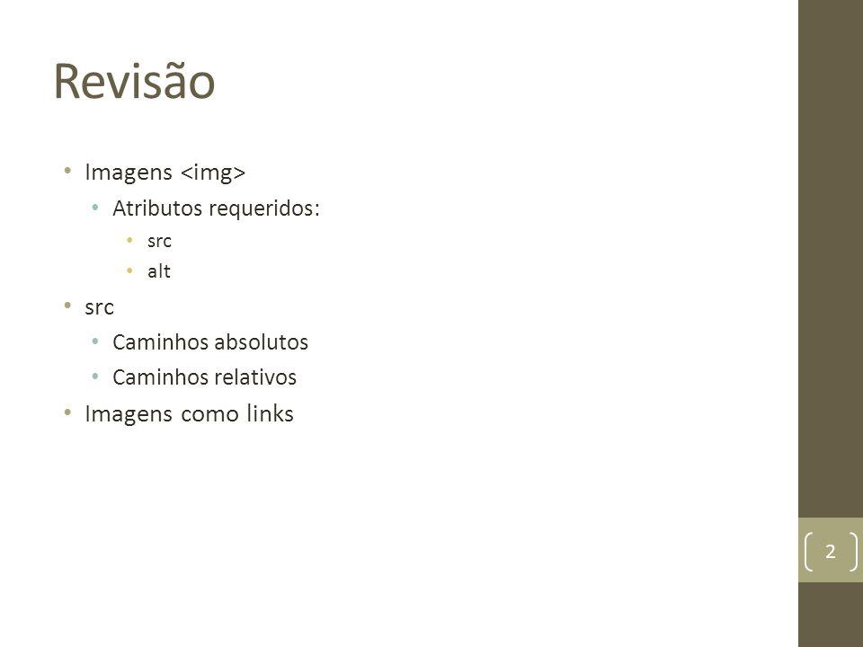 Revisão Imagens <img> Imagens como links Atributos requeridos: