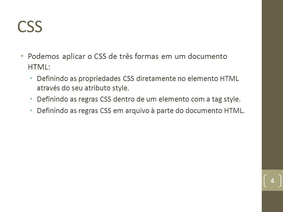 CSS Podemos aplicar o CSS de três formas em um documento HTML: