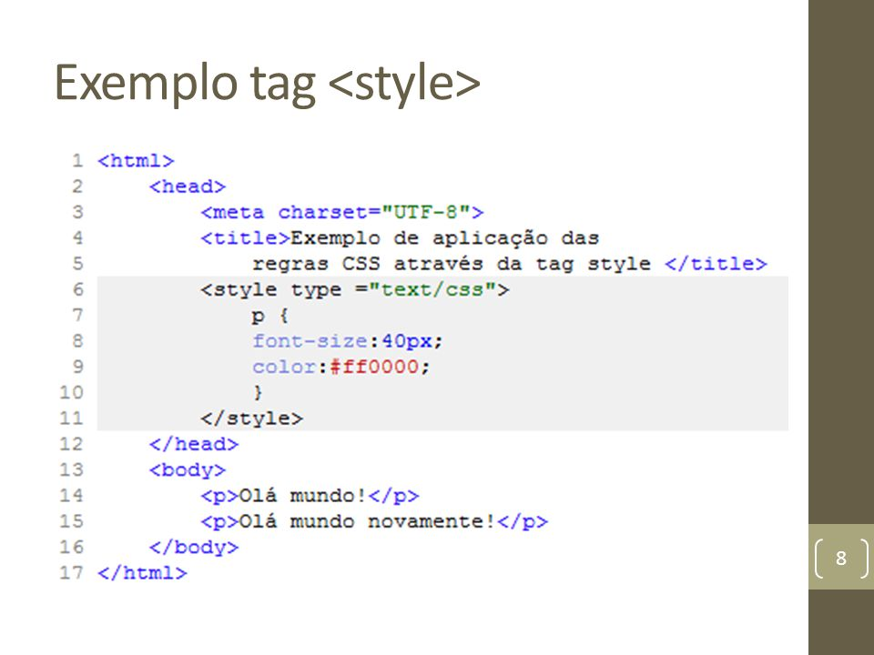 Exemplo tag <style>