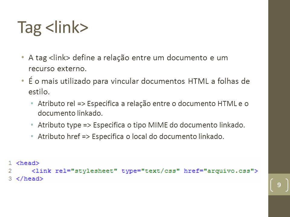 Tag <link> A tag <link> define a relação entre um documento e um recurso externo.