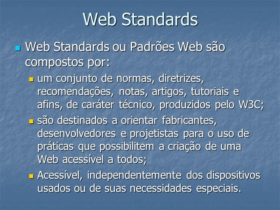 Web Standards Web Standards ou Padrões Web são compostos por: