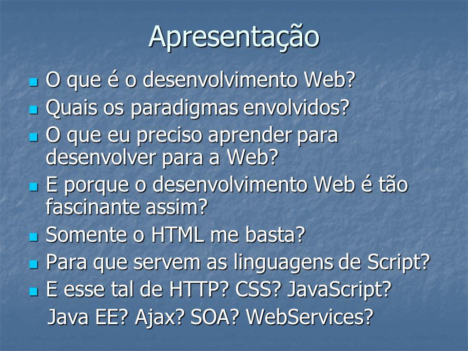 Apresentação O que é o desenvolvimento Web