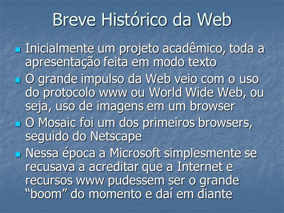 Breve Histórico da Web Inicialmente um projeto acadêmico, toda a apresentação feita em modo texto.