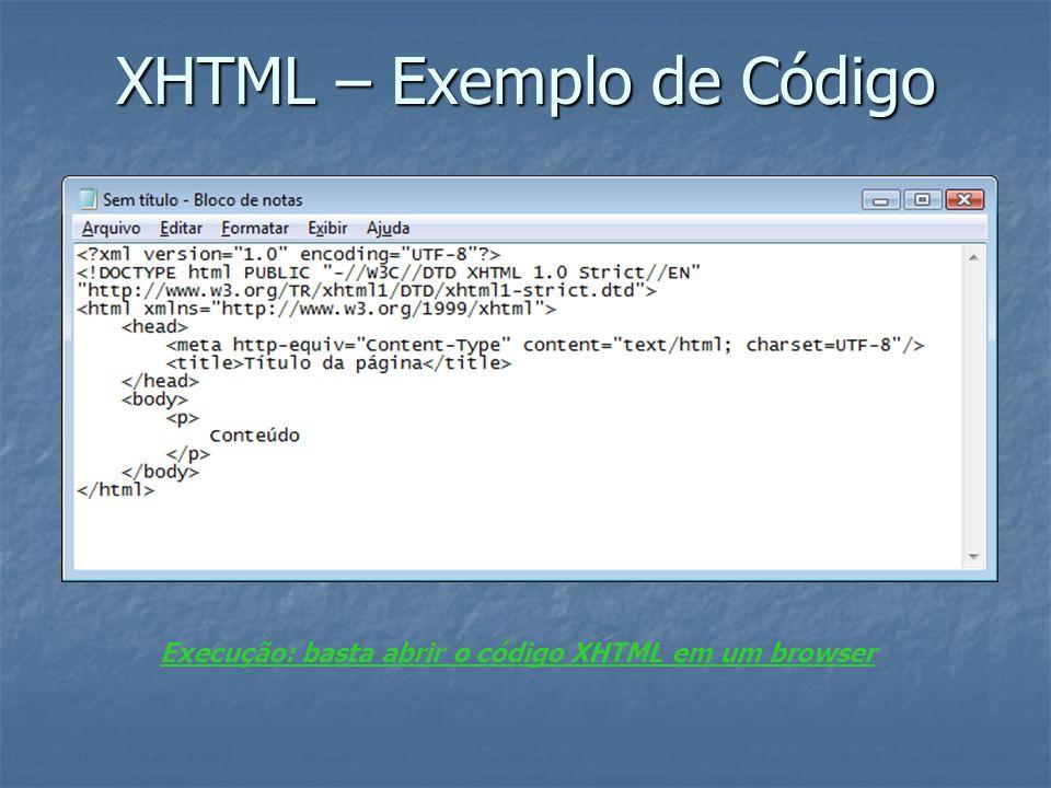 XHTML – Exemplo de Código