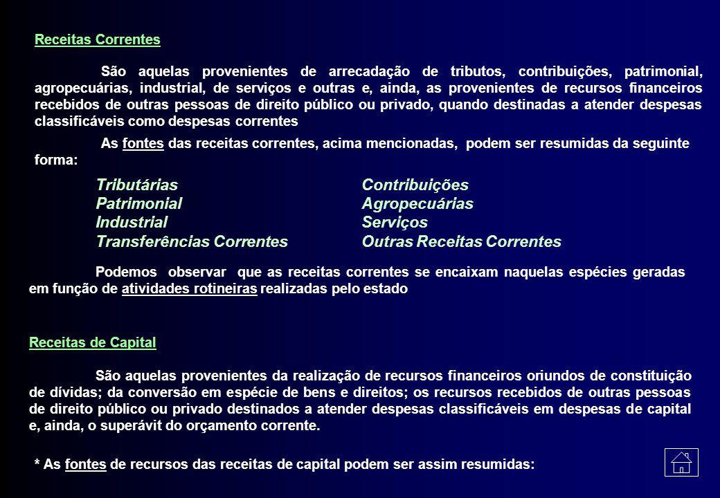 Tributárias Contribuições Patrimonial Agropecuárias