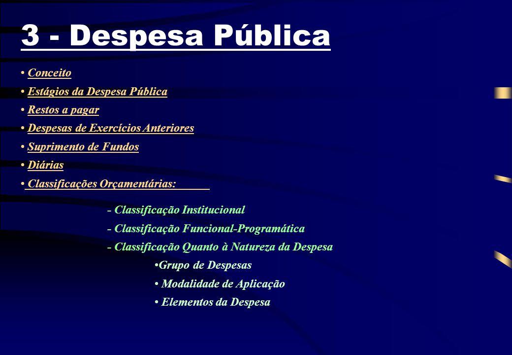 3 - Despesa Pública Conceito Estágios da Despesa Pública