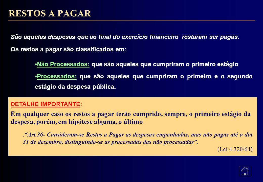 RESTOS A PAGAR São aquelas despesas que ao final do exercício financeiro restaram ser pagas. Os restos a pagar são classificados em: