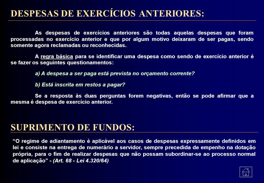 DESPESAS DE EXERCÍCIOS ANTERIORES: