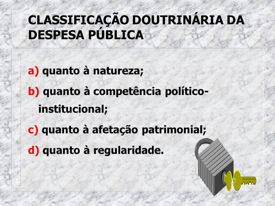 CLASSIFICAÇÃO DOUTRINÁRIA DA DESPESA PÚBLICA