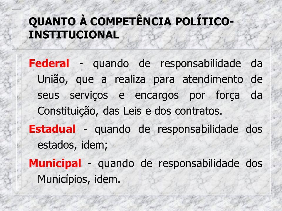 QUANTO À COMPETÊNCIA POLÍTICO-INSTITUCIONAL