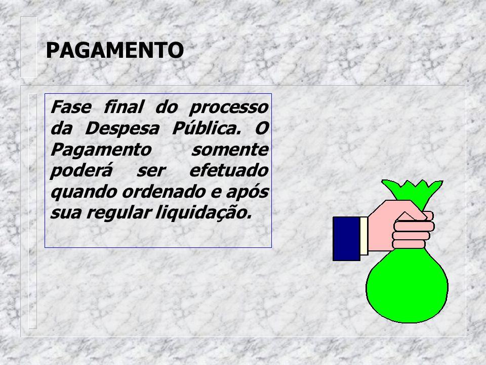 PAGAMENTO Fase final do processo da Despesa Pública.