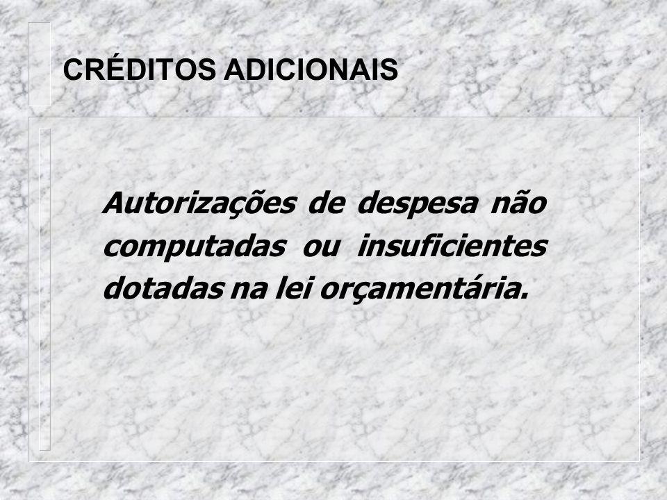 CRÉDITOS ADICIONAIS Autorizações de despesa não computadas ou insuficientes dotadas na lei orçamentária.