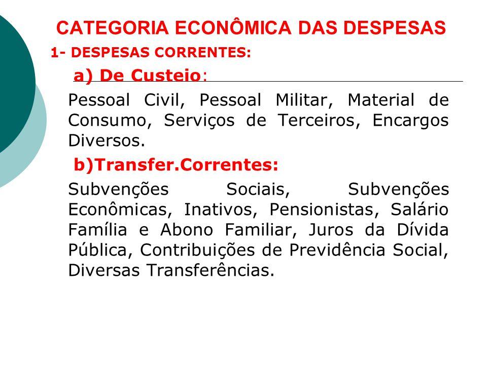 CATEGORIA ECONÔMICA DAS DESPESAS