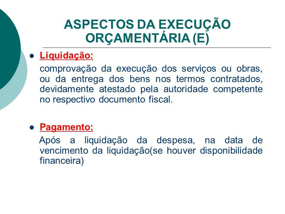 ASPECTOS DA EXECUÇÃO ORÇAMENTÁRIA (E)