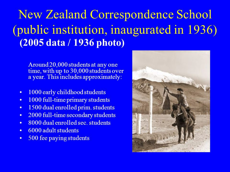 New Zealand Correspondence School (public institution, inaugurated in 1936)