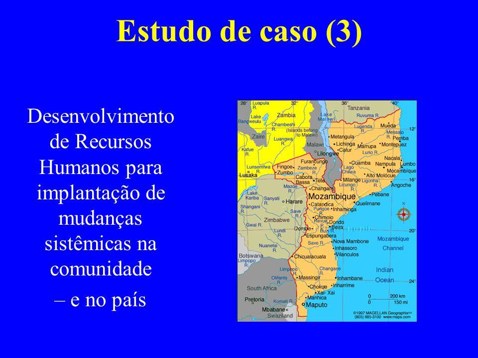 Estudo de caso (3) Desenvolvimento de Recursos Humanos para implantação de mudanças sistêmicas na comunidade.