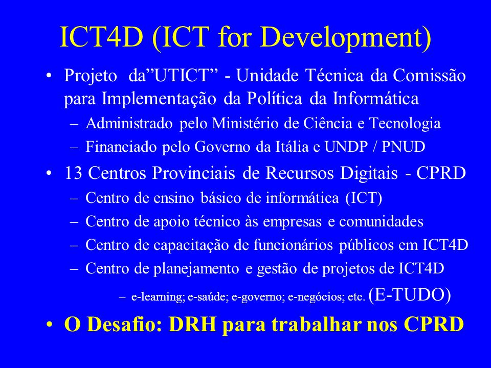 ICT4D (ICT for Development)