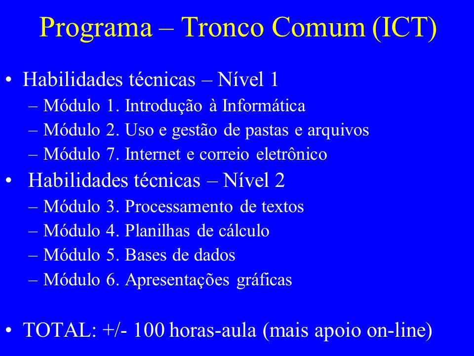 Programa – Tronco Comum (ICT)