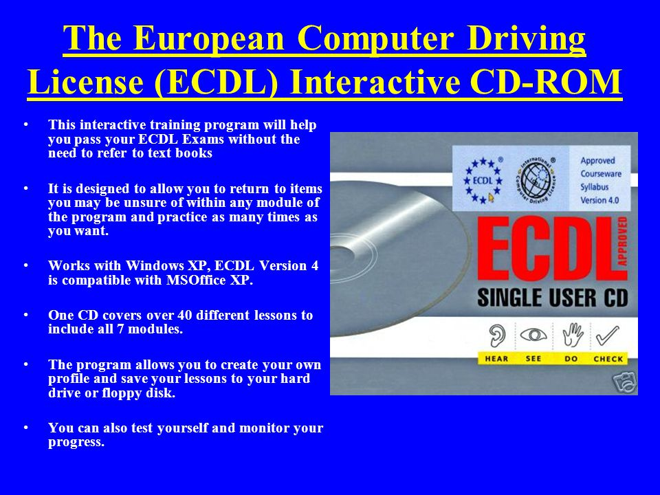 The European Computer Driving License (ECDL) Interactive CD-ROM