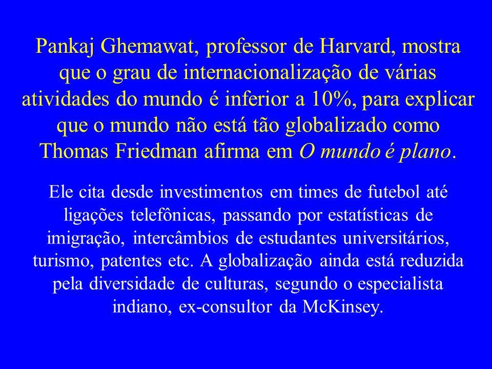 Pankaj Ghemawat, professor de Harvard, mostra que o grau de internacionalização de várias atividades do mundo é inferior a 10%, para explicar que o mundo não está tão globalizado como Thomas Friedman afirma em O mundo é plano.