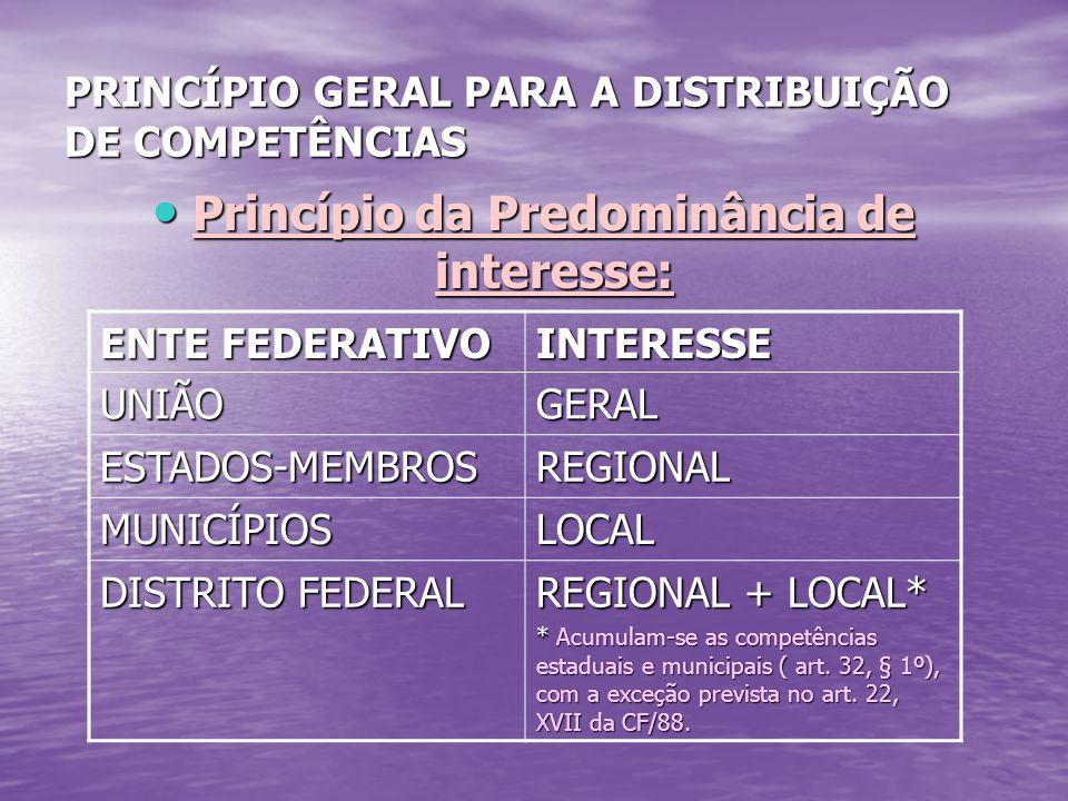PRINCÍPIO GERAL PARA A DISTRIBUIÇÃO DE COMPETÊNCIAS