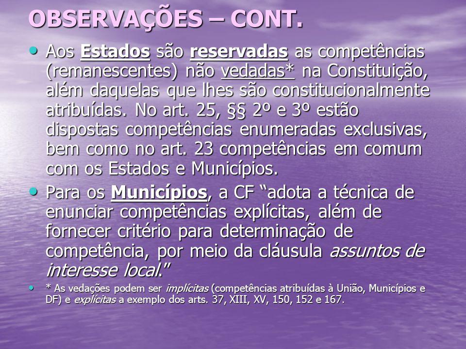 OBSERVAÇÕES – CONT.
