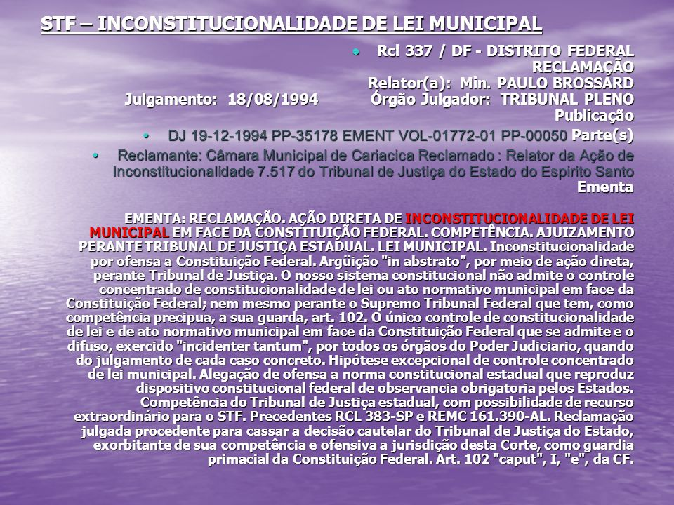 STF – INCONSTITUCIONALIDADE DE LEI MUNICIPAL