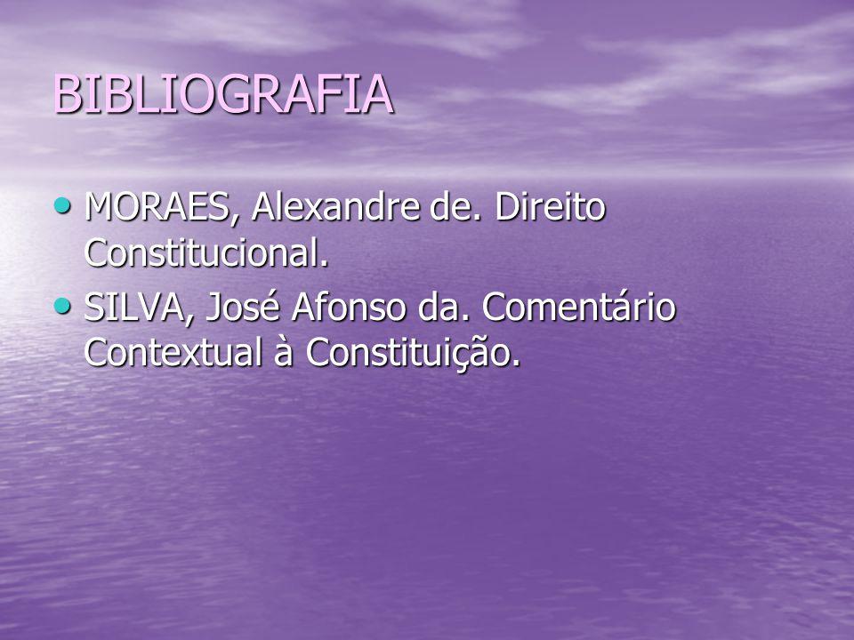 BIBLIOGRAFIA MORAES, Alexandre de. Direito Constitucional.