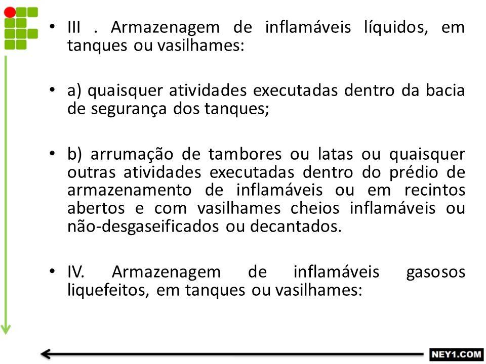 III . Armazenagem de inflamáveis líquidos, em tanques ou vasilhames:
