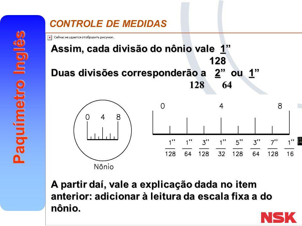 Assim, cada divisão do nônio vale 1 128