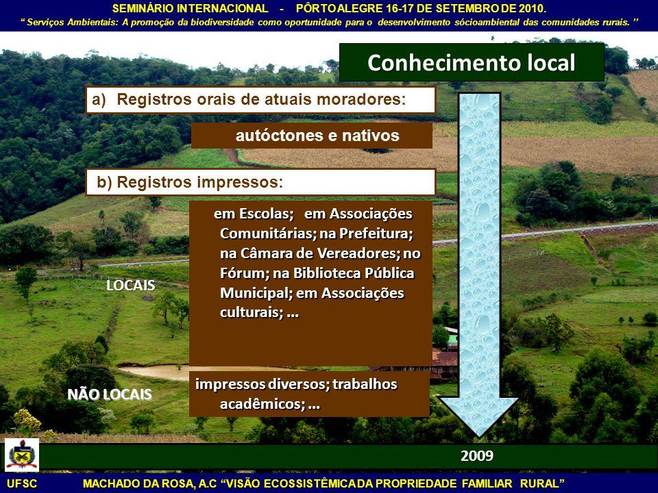 Conhecimento local Registros orais de atuais moradores: