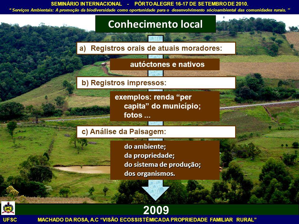 Conhecimento local 2009 Registros orais de atuais moradores: