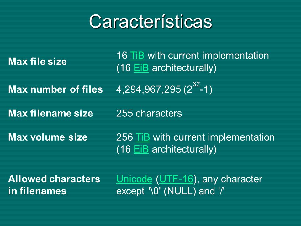Características Max file size 16 TiB with current implementation