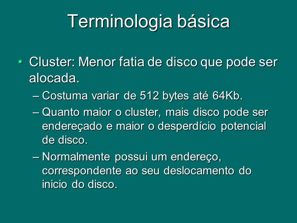Terminologia básica Cluster: Menor fatia de disco que pode ser alocada. Costuma variar de 512 bytes até 64Kb.