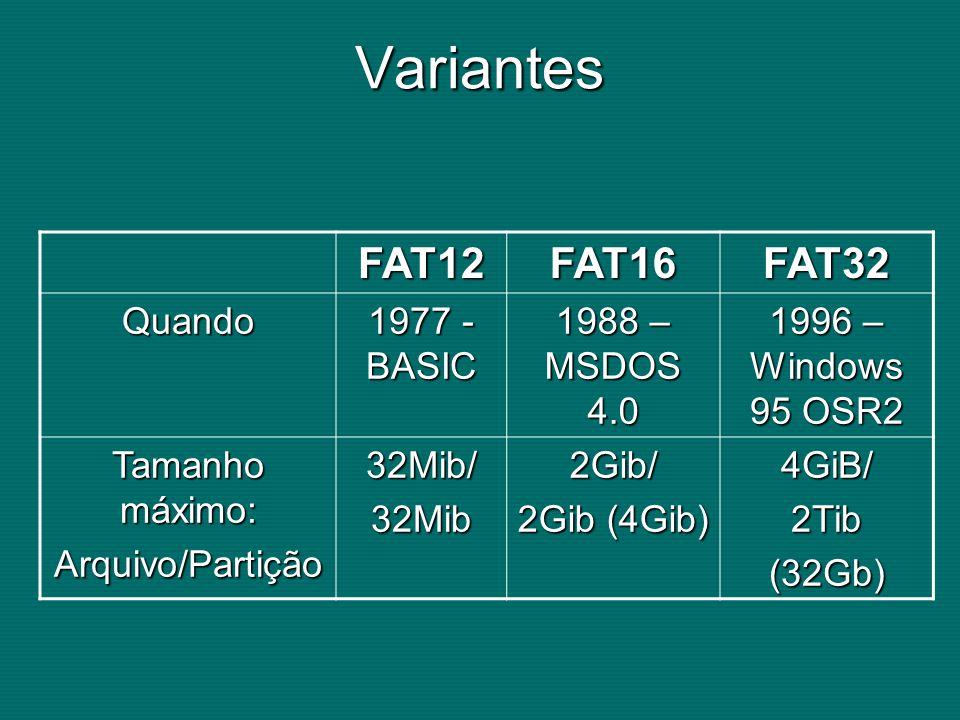 Variantes FAT12 FAT16 FAT32 Quando 1977 - BASIC 1988 – MSDOS 4.0