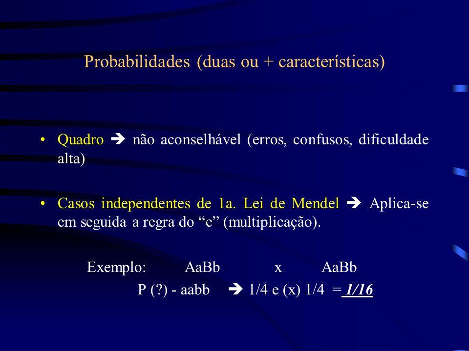 Probabilidades (duas ou + características)