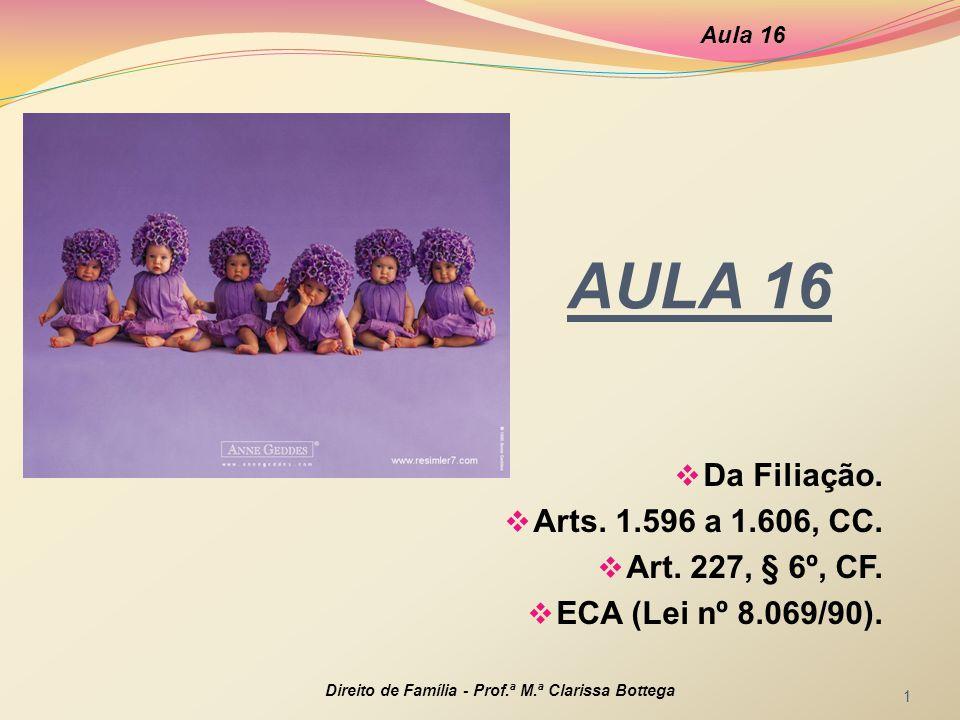 AULA 16 Da Filiação. Arts. 1.596 a 1.606, CC. Art. 227, § 6º, CF.