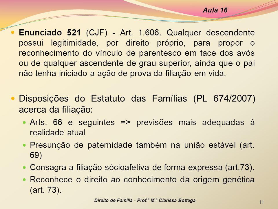 Disposições do Estatuto das Famílias (PL 674/2007) acerca da filiação: