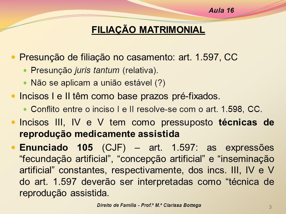 Presunção de filiação no casamento: art. 1.597, CC