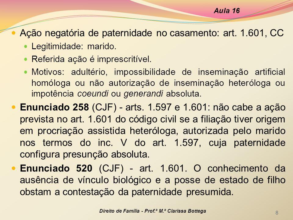 Ação negatória de paternidade no casamento: art. 1.601, CC