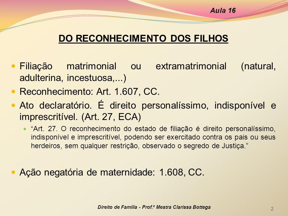 DO RECONHECIMENTO DOS FILHOS