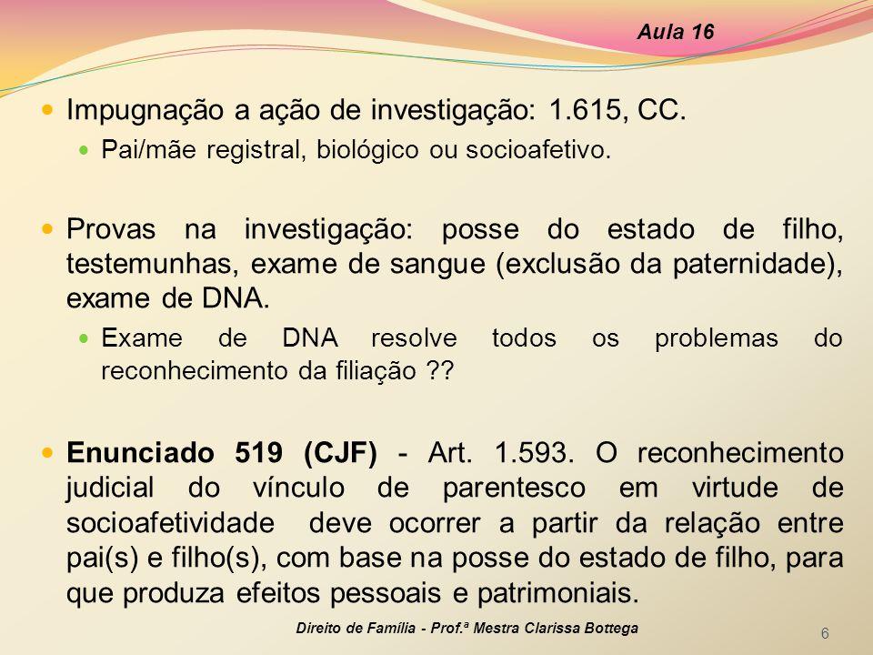 Impugnação a ação de investigação: 1.615, CC.